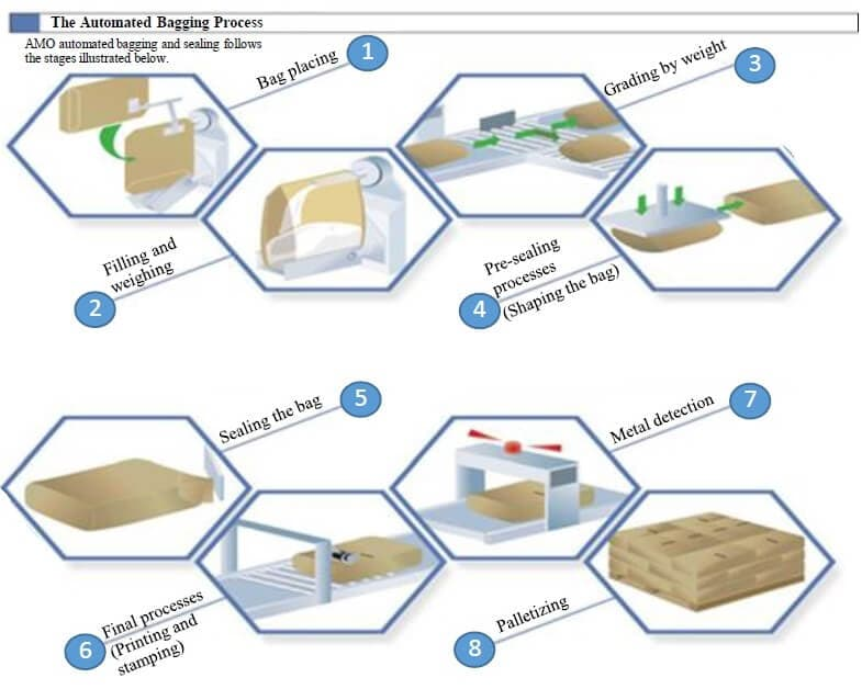 The automated bagging process of valve bag from AMO