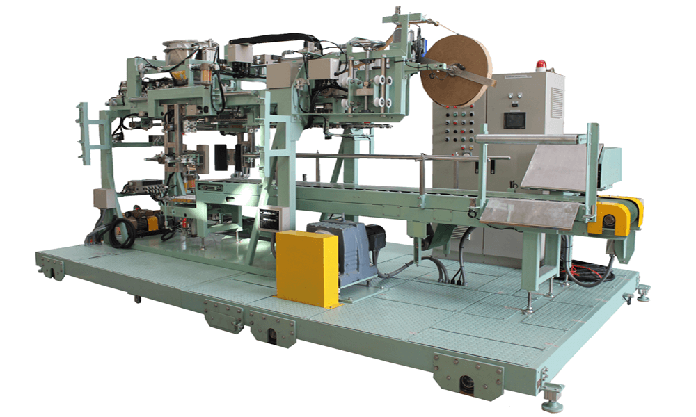 Open-mouth bag sealing machine with bag folding and crepe tape