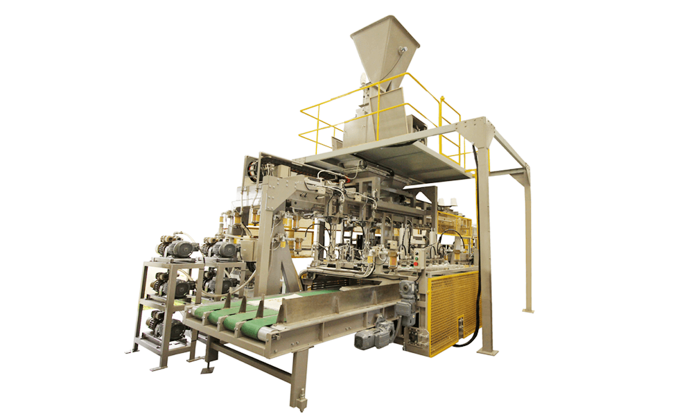 Automatic open-mouth bagging machine with automatic bag placer