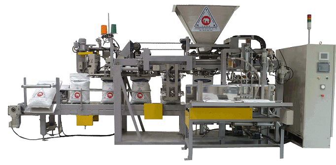 ์NKT's automatic bagging machines for rice, sugar, plastic pellet, fertilizer, and animal feed